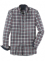 Navy & Red Check Shirt - Olymp - 4062/24/18